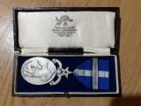 Medalie masonica, marcata si numerotata, argint masiv, in cutia ei originala, Europa, General