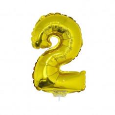 Balon cifra folie metalizata, inaltime 41 cm, auriu