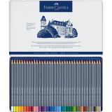 Creioane Colorate Aquarelle Faber-Castell, 36 culori, goldfaber cutie metal