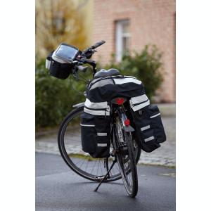 Set bicicleta 3 piese, 2 genti, rucsac, pelerina de ploaie, negru si gri, Everestus, AB02BE, poliester 600D