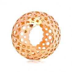 Pandativ din aur roz de 14K - cilindru gol cu ovale și cercuri sculptate