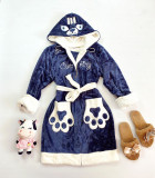 Halat dama ieftin plusat bleumarin cu imprimeu alb si pisica Cute Kitty