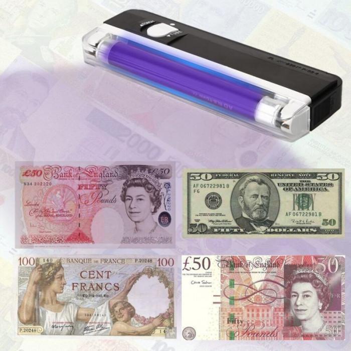 Tester UV 4W portabil, pentru bancnote si documente, 16 cm