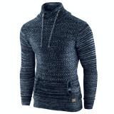 Pulover pentru barbati, bleumarin, guler inalt, flex fit, casual - Alaska Snowboarder