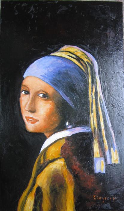 Tablou / Pictura Fata cu cercel de perla semnat Cimpoesu