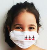 Cumpara ieftin Masca reutilizabila pentru copii, motive traditionale cusute, din bumbac organic, Hora Romaniei