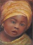 Micuta africana, ulei pe panza, 18cm x 24cm, Portrete, Impresionism