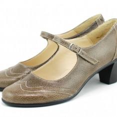 Pantofi dama eleganti din piele naturala cu toc mic - foarte comozi ROVI40B