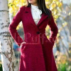 Palton dama elegant trei sferturi lana bordo, Bordeaux