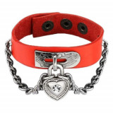 Brăţară roşie din imitaţie de piele, cu un lanţ, lacăt în formă de inimă cu zirconiu