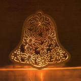 Clopotel decorativ luminos, 9 LED-uri, lemn, agatatoare, 29x30 cm, alb cald
