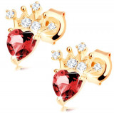 Cercei, aur galben 14K - inimă din rubin roșu, coroană strălucitoare