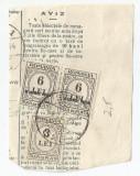 *România, lot 674 cu 2 timbre fisc. si 3 taxa de plata pe fragment de aviz, 1934, Stampilat