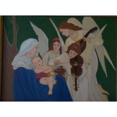 Tablou religios Cantecul ingerilor, 34x44 cm, rama lemn