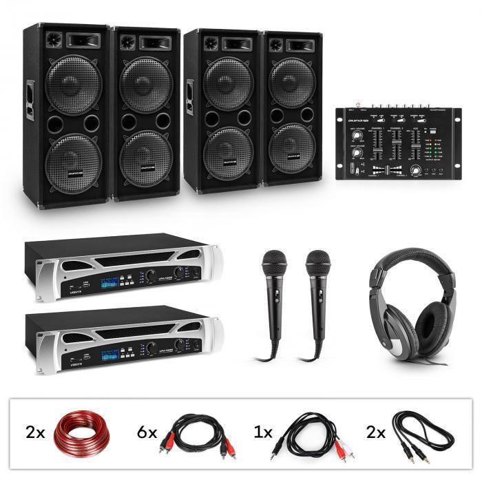 Electronic-Star eStar Bass-Party, sistem DJ, set, 2 x amplificator PA, mixer DJ, 4 x subwoofer, căști