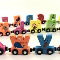 Trenulet din lemn cu 2 fete si prindere magnetica