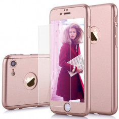 Husa telefon Apple Iphone 7 Plus protectie 360 Ultrasubtire Rose+ Folie Sticla