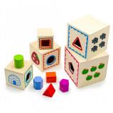 Cumpara ieftin Turn Montessori din lemn 5 cuburi cu cifre, forme si animale.