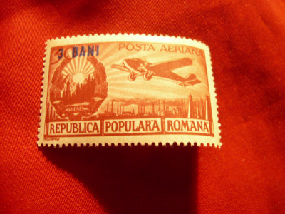 Serie Aviatie Romania 1952 - valori mari cu supratipar 3 bani pe 30 bani foto