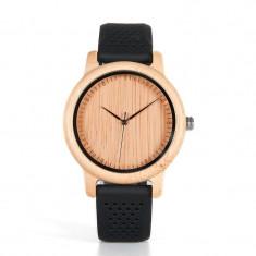 Ceas din bambus Bobo Bird cu curea din silicon negru, B08 Wooden Lux