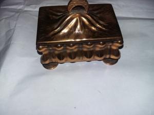 Caseta veche bijuterii,Cutie bijuterii cupru,GUBAN(veche,vintage,colectie),T.GRa