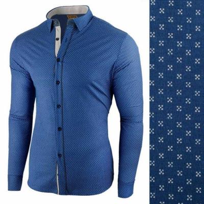 Camasa pentru barbati, albastru-alb, flex fit - Lumieres du Soir foto