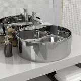 Cumpara ieftin Chiuvetă cu preaplin, argintiu, 46,5x15,5 cm, ceramică