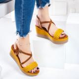 Sandale dama cu platforma galbene Donalia