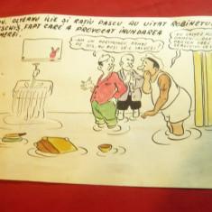 Caricatura- Tus si Acuarela -Inundatie in camera ,dim.=20,5x13,3cm