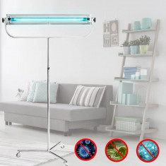 Lampa bactericida inox UVC 55W germicidala portabila, stativ pe roti, tub Phillips, comutator