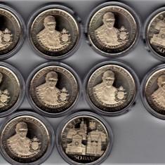 Lot 10 bucati monede 50 bani 2019 din fisic vizita Papei in Romania,in CAPSULA, Alama