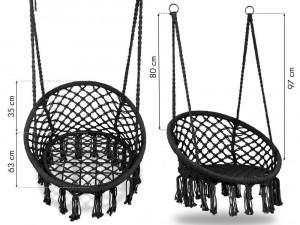 Leagan Balansoar Rotund Suspendat Pentru Casa Sau Gradina Cu Franjuri 150kg Negru Okazii Ro