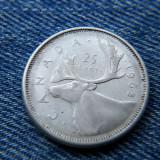 1p - 25 Cents 1963 Canada argint / Elisabeta II, America de Nord