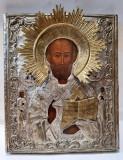 Icoana pictata pe lemn si ferecata, Sf. Nicolae Tamaturgul, cu doc de export