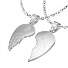 Pandantiv dublu din oțel 316L, aripi de înger, simbol femeiesc și bărbătesc, zirconii transparente