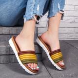 Papuci dama khaki cu maro Azimia