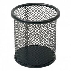 Suport rotund din metal pentru pixuri si creioane, 8×10 cm, negru
