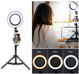 Lampa LED video 16cm cu suport telefon ring light pentru youtube, vlog, make-up