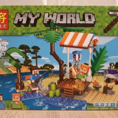 NOU/SIGILAT Set de 179 piese tip lego Minecraft My World LELE 33167-A