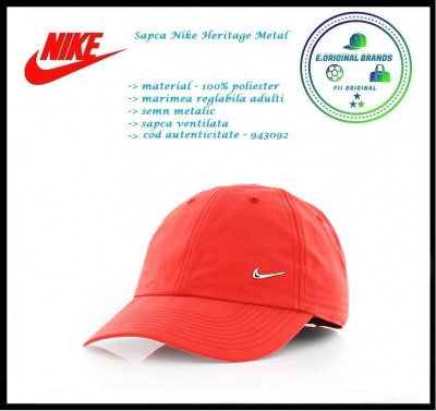 In Stoc! Sapca Nike Metal - Reglabila - Poliester - Cod 943092 foto