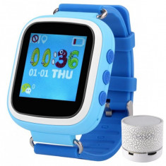 Ceas Smartwatch cu GPS Copii iUni Kid90, Telefon incorporat, Buton SOS, Bluetooth, LCD 1.44 Inch, Albastru + Boxa Cadou