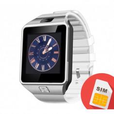 Smartwatch Mtk DZ09 cu Bluetooth si Camera Foto, Compatibil SIM si MicroSD Alb