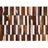 Covor de lux din piele, maro alb, patchwork, 171x240, PIELE DE VIT TIP 5