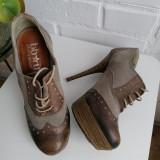 Pantofi stiletto cu siret, stil Oxford, piele naturala, marime 36, Cu toc