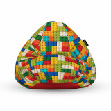 Cumpara ieftin Fotoliu Units Puf (Bean Bag) tip para, impermeabil, cu maner, 80 x 90 x 68 cm, lego tetris verde