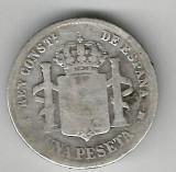 SPANIA 1 PESETA 1883 MS M ARGINT STARE BUNA