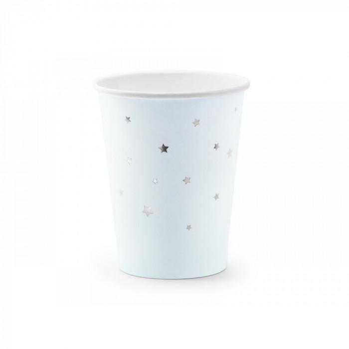 Pahare din carton, bleu cu stelute argintii, 260ml, 6 buc