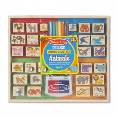 Set stampile din lemn Animale Deluxe, 38 piese