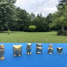 Set de  sapte bufnite, figurine din bronz