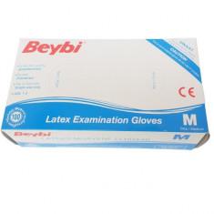 Manusi de unica folosinta din latex, pudrate, Beybi, 100 bucati, marimea M, albe